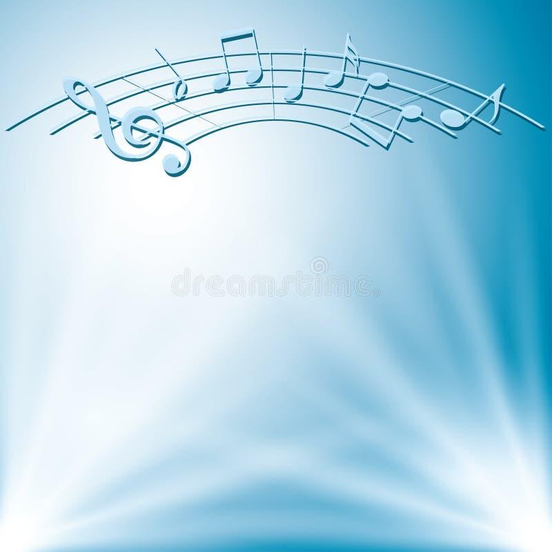 Μπλε υπόβαθρο με τα άσπρες φω'τα και τις σημειώσεις μουσικής ελεύθερη απεικόνιση δικαιώματος