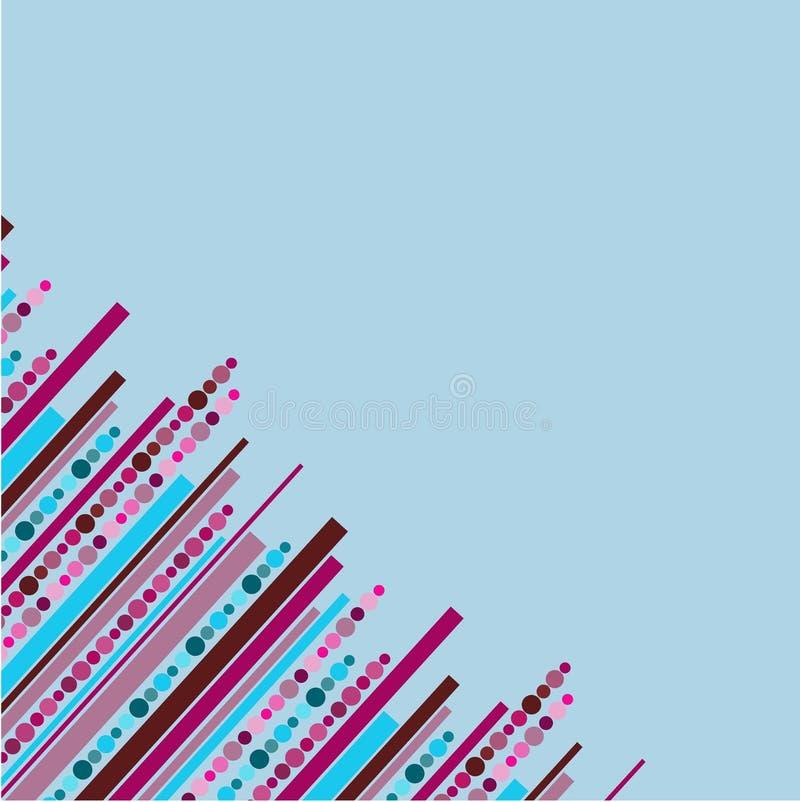 Μπλε υπόβαθρο με τα λωρίδες και τα σημεία διανυσματική απεικόνιση