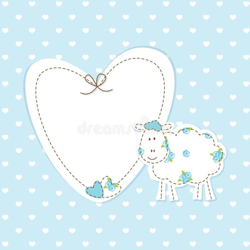 Μπλε υπόβαθρο μωρών με τα πρόβατα διανυσματική απεικόνιση