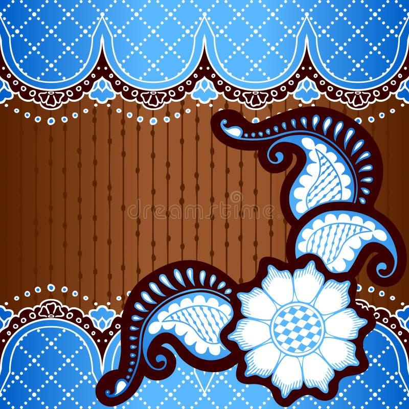 Μπλε υπόβαθρο που εμπνέεται από τα ινδικά σχέδια mehndi ελεύθερη απεικόνιση δικαιώματος