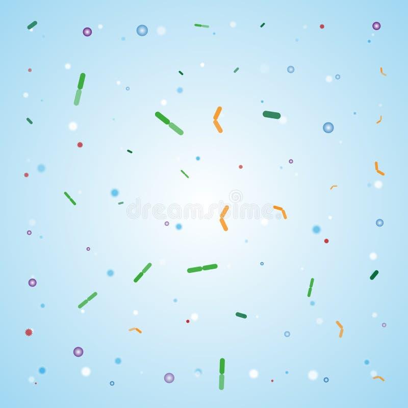 Μπλε υπόβαθρο σχεδίων βακτηριδίων απεικόνιση αποθεμάτων