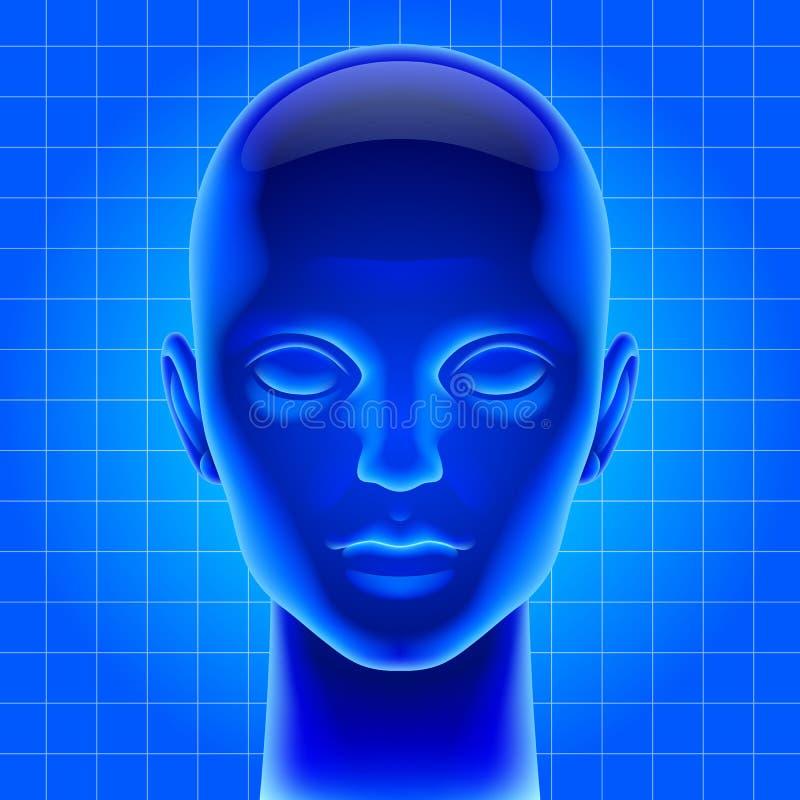 Μπλε φουτουριστικό τεχνητό κεφάλι διανυσματική απεικόνιση