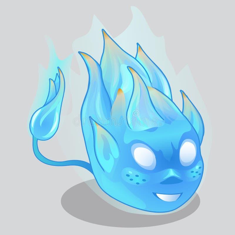 Μπλε φλογερός δαίμονας στο ύφος κινούμενων σχεδίων διάνυσμα διανυσματική απεικόνιση