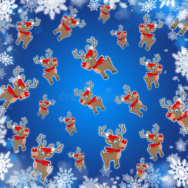 Μπλε χαριτωμένο υπόβαθρο ταράνδων Χριστουγέννων απεικόνιση αποθεμάτων