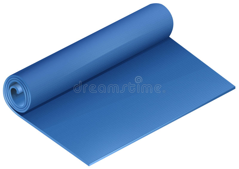 Μπλε χαλί γιόγκας στο λευκό απεικόνιση αποθεμάτων
