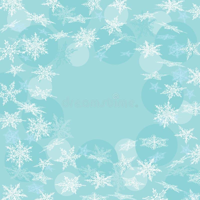 Μπλε χειμερινή ανασκόπηση με snowflakes διάνυσμα ελεύθερη απεικόνιση δικαιώματος