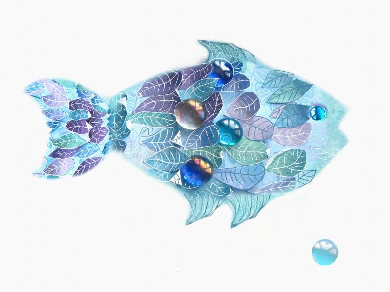 Μπλε ψάρια τέχνης με τις κλίμακες ως φύλλα Συρμένη χέρι απεικόνιση στο άσπρο υπόβαθρο Floral δημιουργικό σχέδιο ψαριών απεικόνιση αποθεμάτων