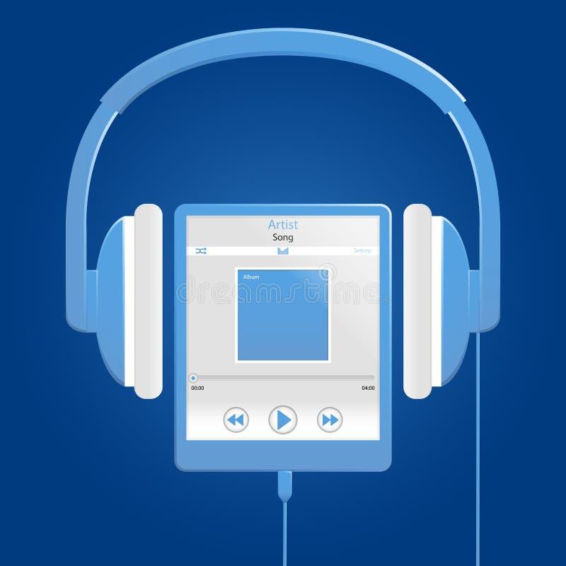 Μπλε ψηφιακός φορέας μουσικής διανυσματική απεικόνιση