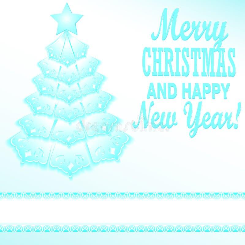 μπλε ύφος εγγράφου χριστουγεννιάτικων δέντρων εορταστικό διανυσματική απεικόνιση