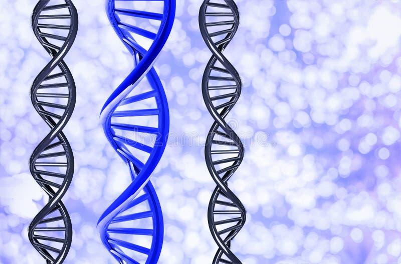 Μπλε DNA με μοναδικό στο υπόβαθρο Bokeh, που απομονώνεται στο άσπρο υπόβαθρο απεικόνιση αποθεμάτων