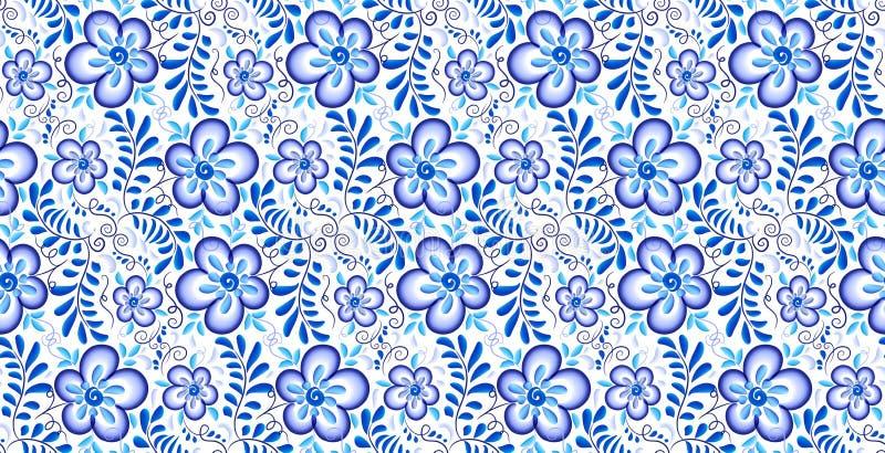 Μπλε floral διακόσμηση στο ρωσικό διανυσματικό άνευ ραφής σχέδιο ύφους gzhel απεικόνιση αποθεμάτων