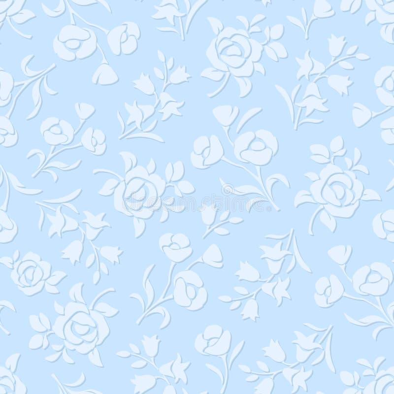 μπλε floral πρότυπο άνευ ραφής επίσης corel σύρετε το διάνυσμα απεικόνισης απεικόνιση αποθεμάτων