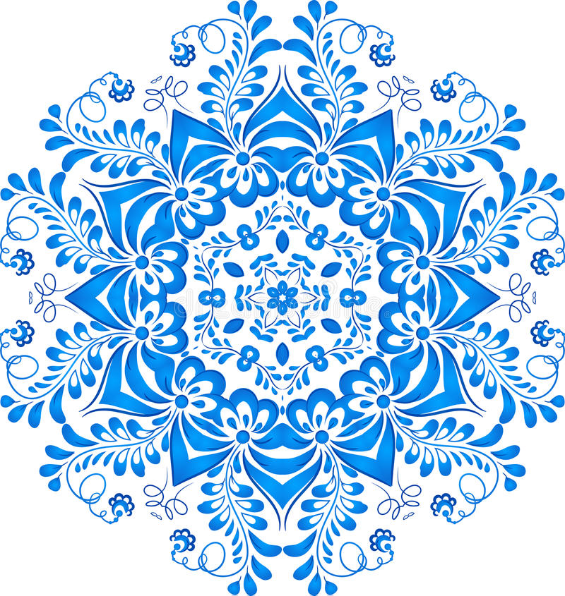 Μπλε floral σχέδιο κύκλων στο ύφος gzhel ελεύθερη απεικόνιση δικαιώματος