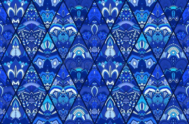 Μπλε FLoral σχέδιο υποβάθρου κεραμιδιών ελεύθερη απεικόνιση δικαιώματος