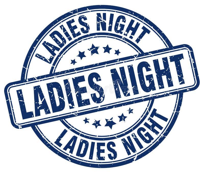 Μπλε grunge γυναικείας νύχτας γύρω από το εκλεκτής ποιότητας γραμματόσημο διανυσματική απεικόνιση