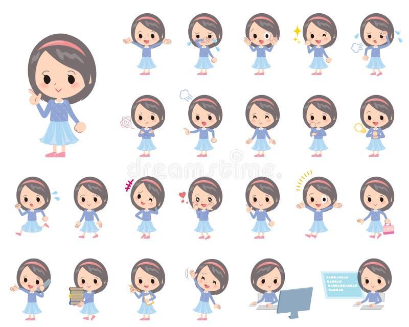Μπλε headband ενδυμάτων κορίτσι απεικόνιση αποθεμάτων