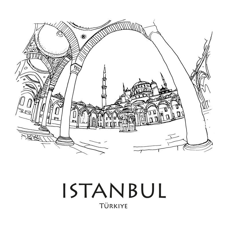 Μπλε Moscque, Ιστανμπούλ, Τουρκία Δημιουργημένο χέρι σκίτσο ελεύθερη απεικόνιση δικαιώματος