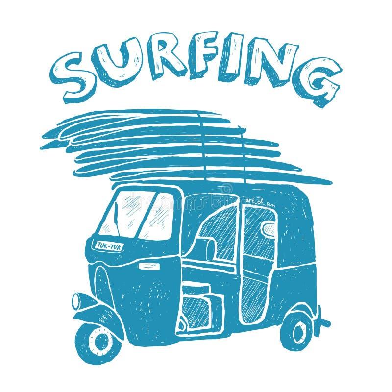 Μπλε tuk-tuk με τις ιστιοσανίδες, grunge εκλεκτής ποιότητας λογότυπο διανυσματική απεικόνιση