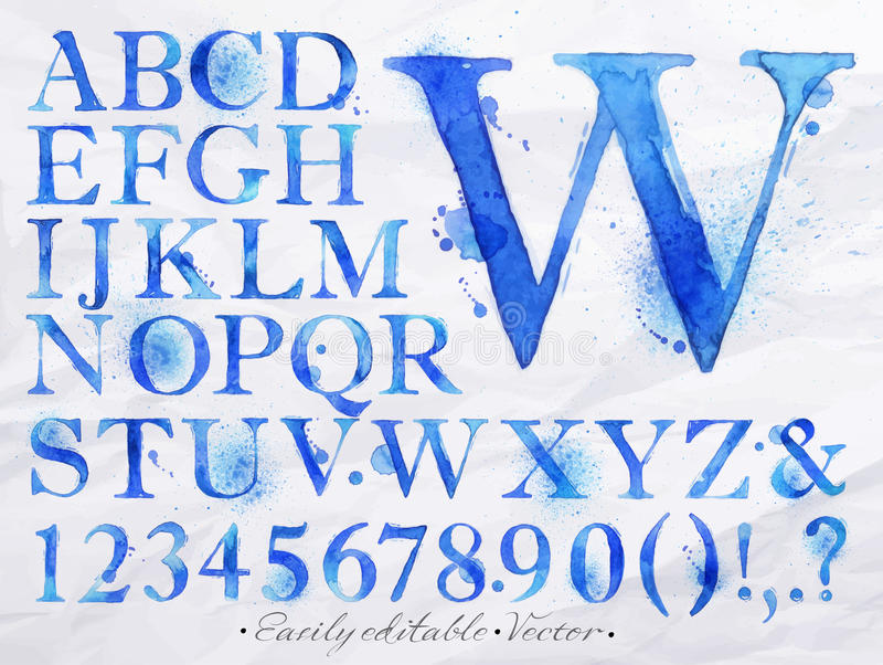 Μπλε watercolor αλφάβητου διανυσματική απεικόνιση