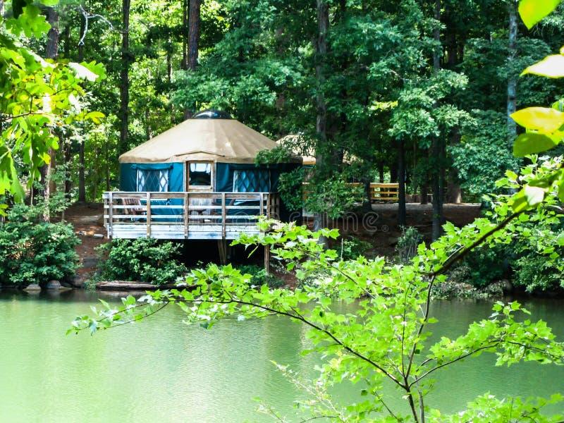 Μπλε Yurt στο κρατικό πάρκο Yargo οχυρών στοκ φωτογραφίες