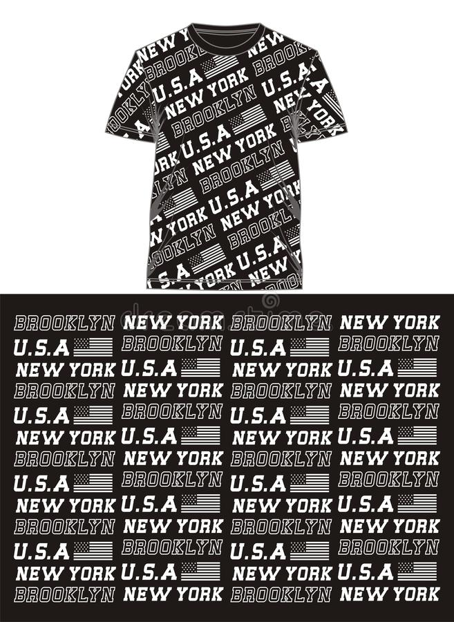 01 μπλούζα εκτύπωσης αμερικανικής οθόνης σημαιών τυπογραφίας, διανυσματική απεικόνιση