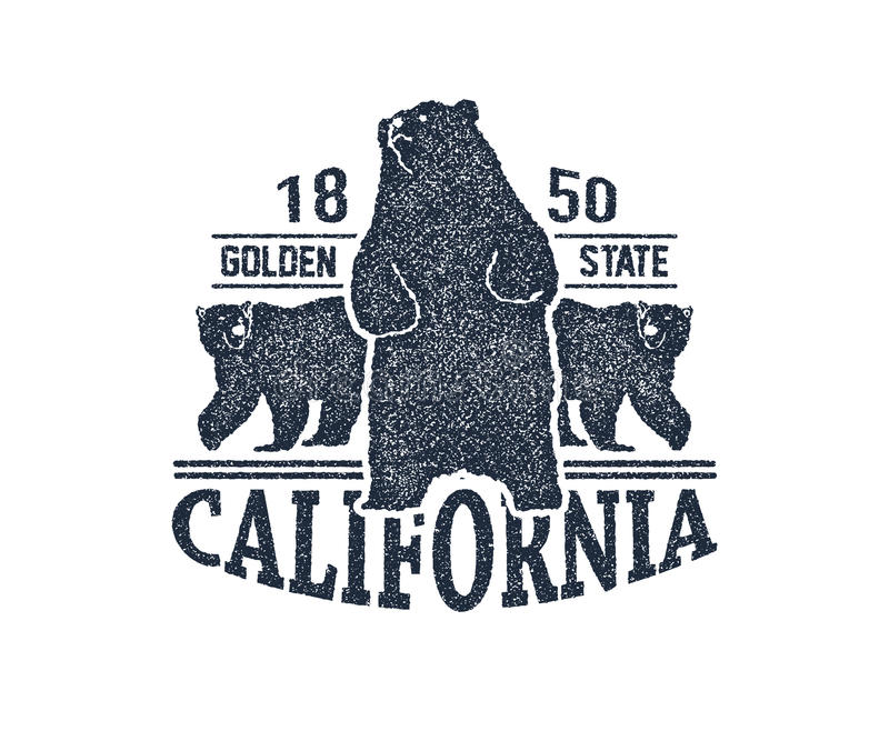 Μπλούζα Καλιφόρνιας με τη σταχτιά αρκούδα απεικόνιση αποθεμάτων