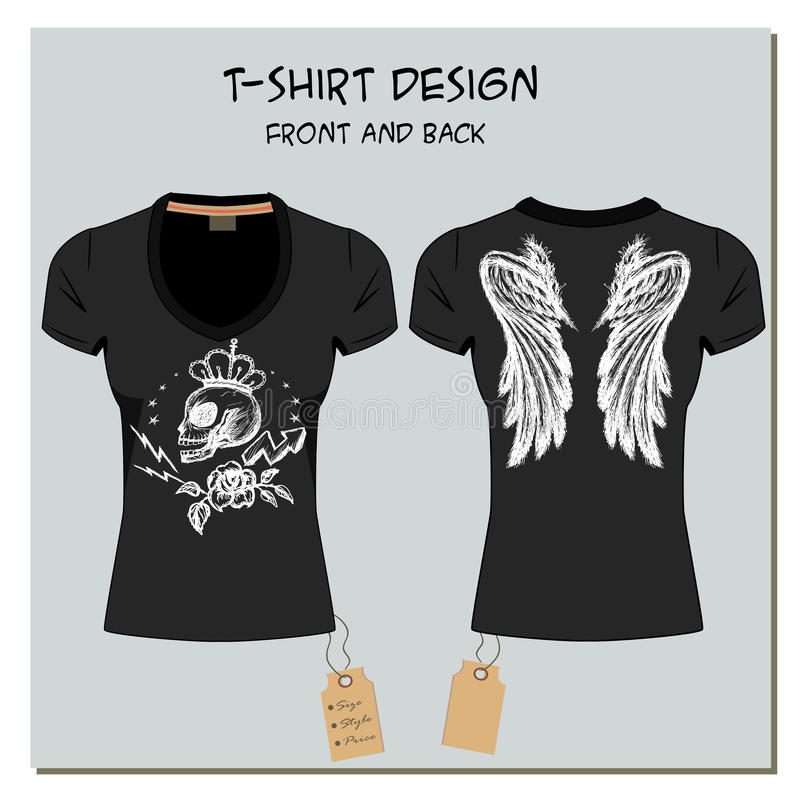 Μπλούζες του λευκού και μαύρου κοριτσιού σχεδίου, με την ετικέτα, διάνυσμα διανυσματική απεικόνιση