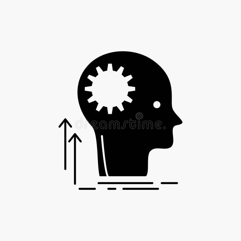 Μυαλό, δημιουργικός, σκέψη, ιδέα, εικονίδιο Glyph 'brainstorming' : διανυσματική απεικόνιση