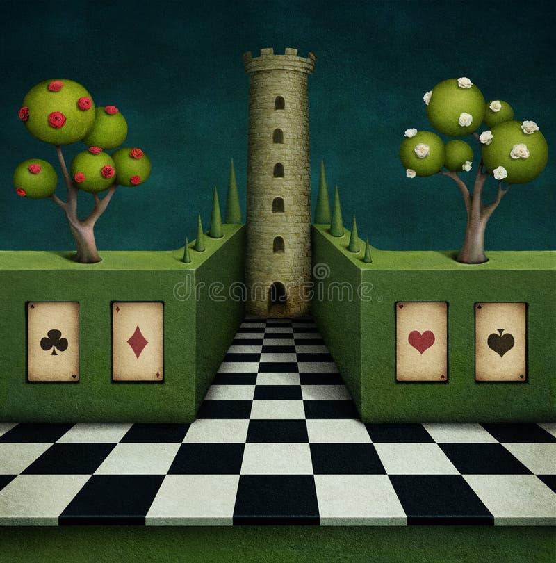 Μυθική ανασκόπηση με τον πύργο διανυσματική απεικόνιση