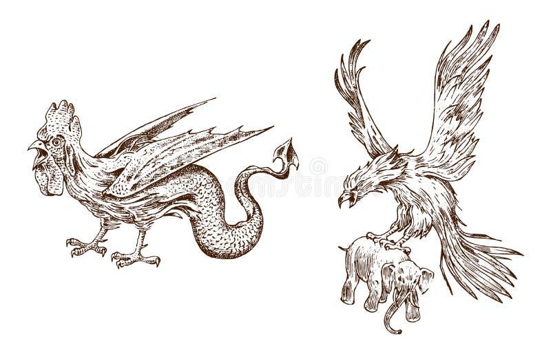 Μυθικός βασιλίσκος και παλαιό ροκ Αρχαία μυθολογία Πουλιά και ζώα, πλάσματα στο παλαιό εκλεκτής ποιότητας ύφος κόκκορας και διανυσματική απεικόνιση