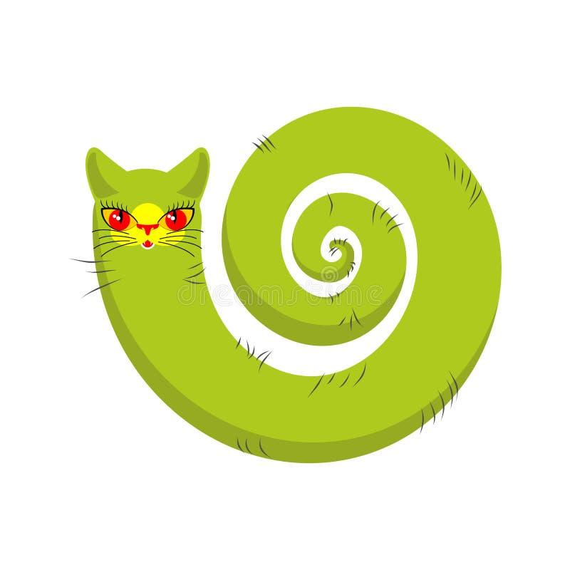 Μυθικός γατών που απομονώνεται μακριά ουρά της Pet στο άσπρο υπόβαθρο διανυσματική απεικόνιση