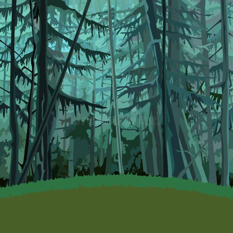 Μυθικός πυκνός κωνοφόρος δασικός σκούρο πράσινο κινούμενων σχεδίων απεικόνιση αποθεμάτων