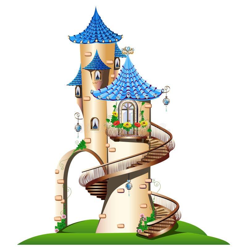 Μυθικός πύργος με το μπαλκόνι ελεύθερη απεικόνιση δικαιώματος