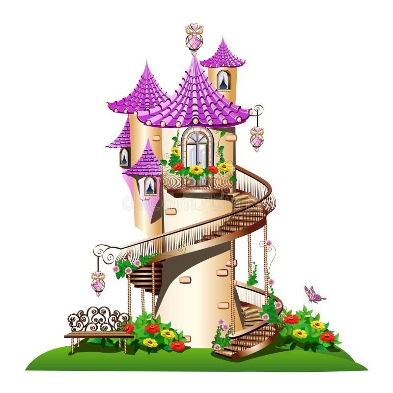 Μυθικός πύργος με το μπαλκόνι απεικόνιση αποθεμάτων