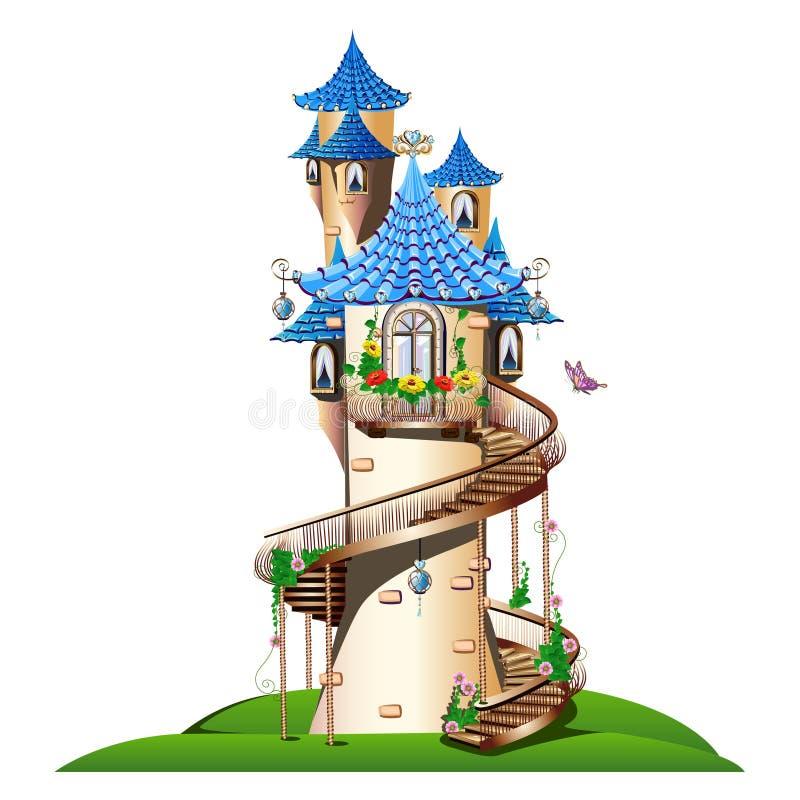 Μυθικός πύργος με το μπαλκόνι διανυσματική απεικόνιση