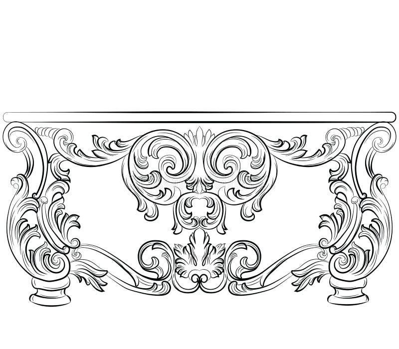 Μυθικός πλούσιος στυλ ροκοκό πίνακας γραφείων απεικόνιση αποθεμάτων