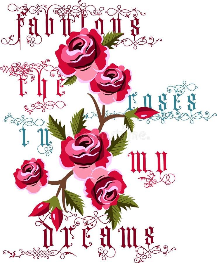 Μυθικός τα τριαντάφυλλα στο διάνυσμα ονείρων μου ελεύθερη απεικόνιση δικαιώματος