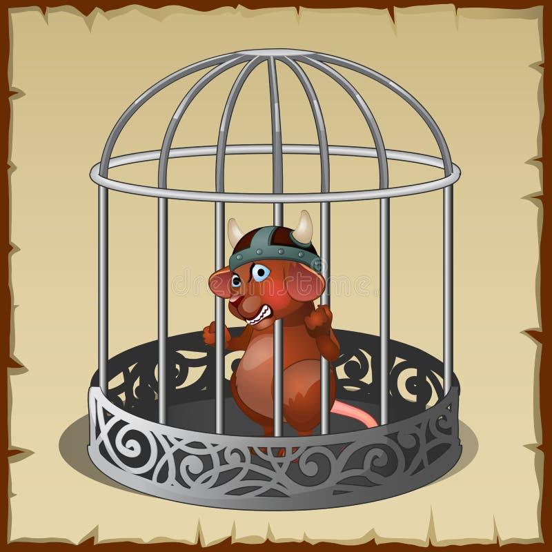 Μυθικό άγριο ζώο σε ένα κλουβί χάλυβα στην αιχμαλωσία ελεύθερη απεικόνιση δικαιώματος