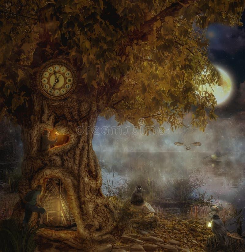 Μυθικό δέντρο όχθεων της λίμνης στοκ εικόνες με δικαίωμα ελεύθερης χρήσης