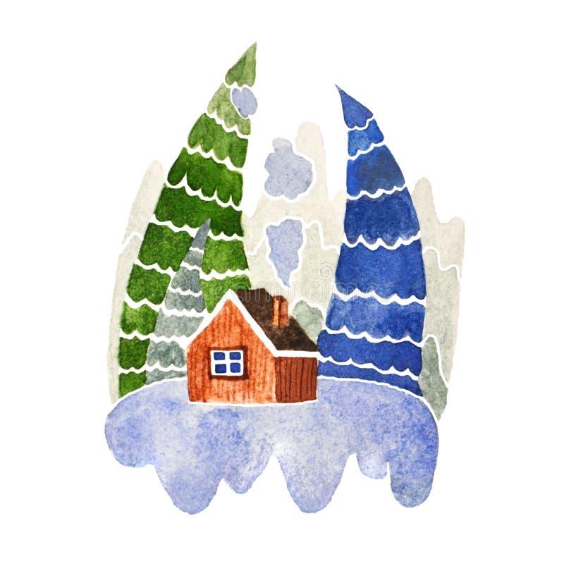 Μυθικό χειμερινό σπίτι στα ξύλα ελεύθερη απεικόνιση δικαιώματος