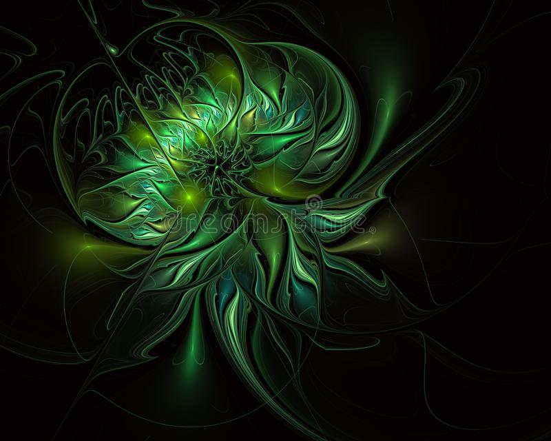 Μυθικό floral fractal σχέδιο σε πράσινο απεικόνιση αποθεμάτων