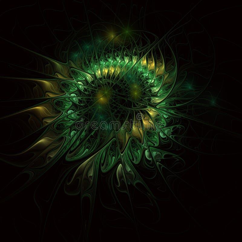 Μυθικό floral fractal σχέδιο σε πράσινο διανυσματική απεικόνιση