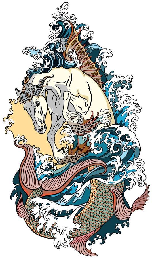 Μυθολογικός ιππόκαμπος αλόγων θάλασσας ελεύθερη απεικόνιση δικαιώματος