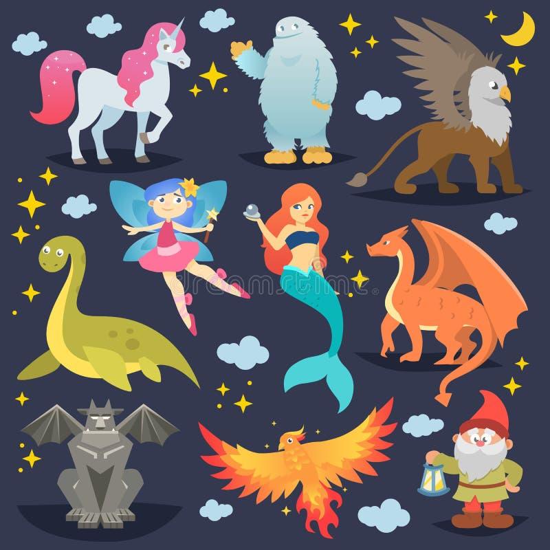 Μυθολογικό ζωικό διανυσματικό μυθικό πλάσμα Φοίνικας ή νεράιδα φαντασίας και χαρακτήρες της γοργόνας ή του μονοκέρου μυθολογίας κ ελεύθερη απεικόνιση δικαιώματος