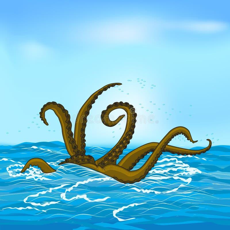 Μυθολογικός τα πλοκάμια με τη θάλασσα ελεύθερη απεικόνιση δικαιώματος