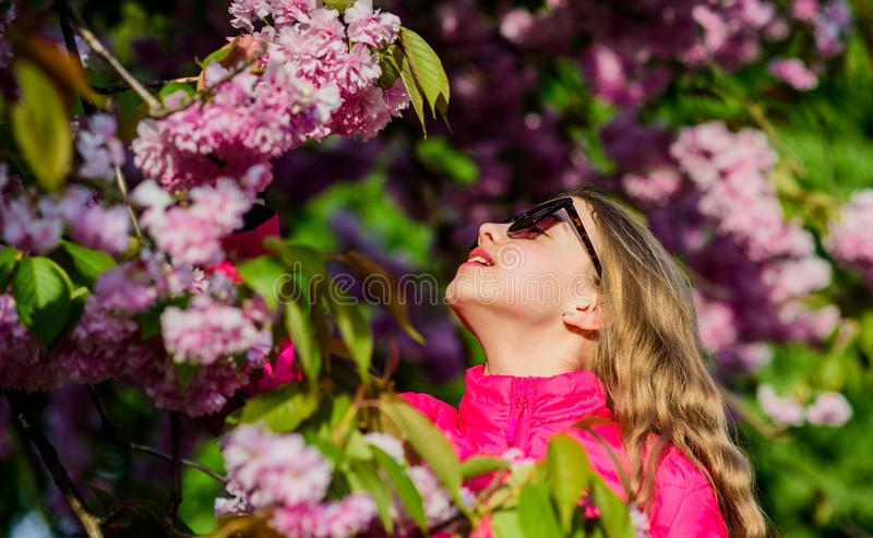 Μυρωδιά ανθών, αλλεργία skincare και SPA Φυσικά καλλυντικά για το δέρμα ευτυχές κορίτσι στο λουλούδι κερασιών Άνθιση δέντρων Saku στοκ εικόνα με δικαίωμα ελεύθερης χρήσης