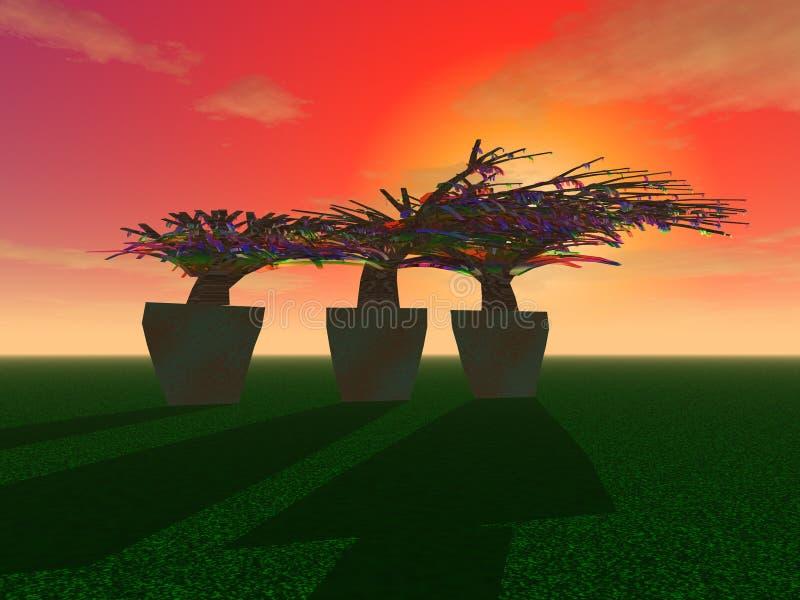 Μυστήρια δέντρα στις σκάφες ελεύθερη απεικόνιση δικαιώματος