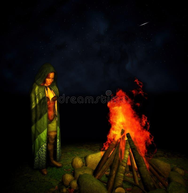 Μυστήρια κυρία Cloak Hood Stand Campfire νύχτα διανυσματική απεικόνιση
