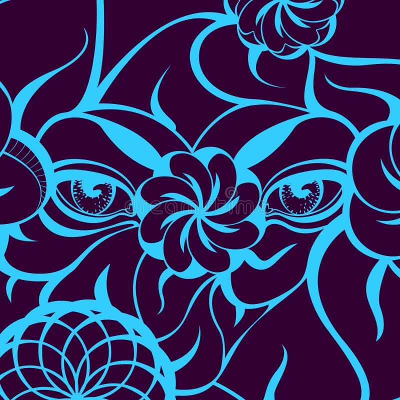 Μυστήρια μάτια με το μπλε περίγραμμα σε ένα ιώδες υπόβαθρο στοκ φωτογραφίες