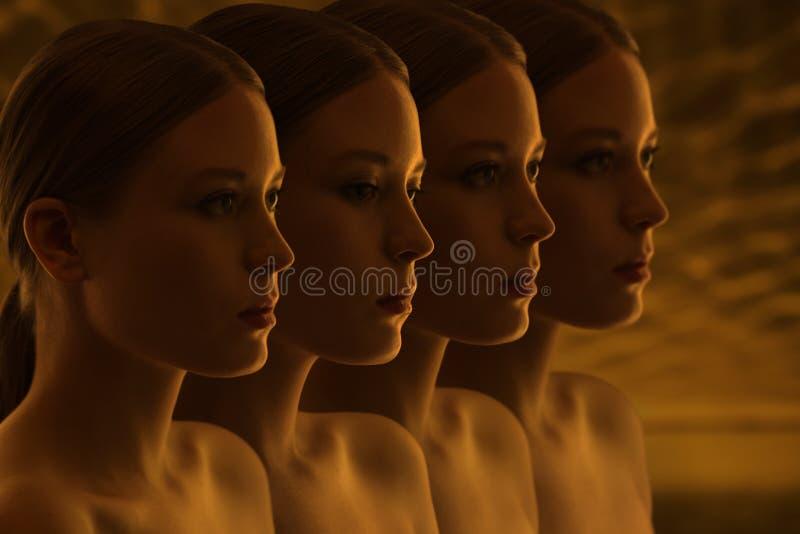 Μυστήρια πρόσωπα των κοριτσιών Αμφιβολίες και αντανακλάσεις Σκοτεινή ομάδα po στοκ εικόνες